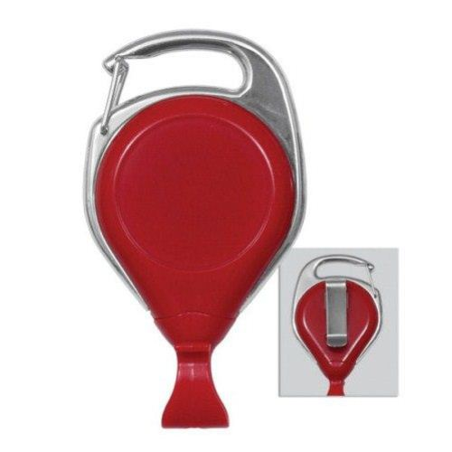 Red Pro-Reel Carabiner Style Badge Reel with Belt Clip - 25pk (2120-7028), MyBinding brand Image 1