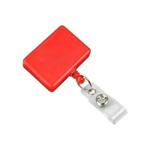 Red Rectangle Badge Reel With Swivel Clip and Clear Vinyl Strap - 25pk (2120-3906), MyBinding brand Image 1