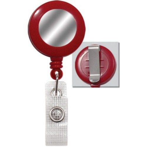 Red Reinforced Badge Reel w Silver Sticker and Belt Clip - 25pk (2120-3106), MyBinding brand Image 1
