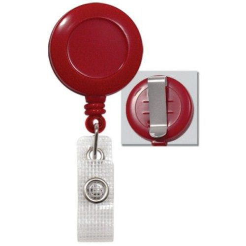 Red Round Badge Reel with Belt Clip and Reinforced Strap - 25pk (2120-3006) Image 1