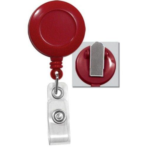 Red Round Badge Reel with Spring Clip - 25pk (2120-4706) Image 1