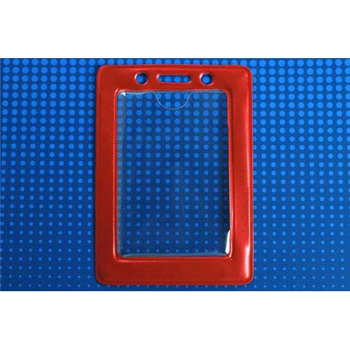 "Red Vertical Vinyl Color-Frame Badge Holder (3-7/16"" x 2-1/4"") - 100pk (MYBP407NRED) Image 1"