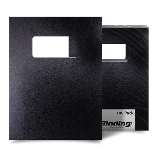 "Black 8.5"" x 11"" 15pt Vinyl Binding Covers with Windows - 100 Sets (MYVBC85X11BKW)"