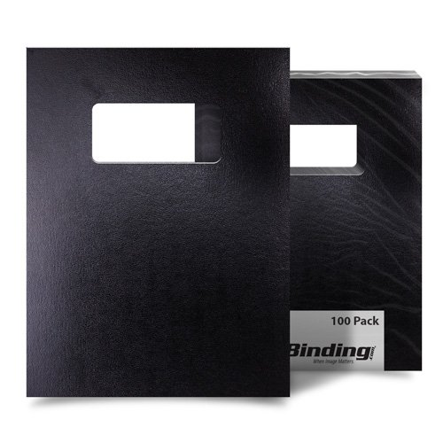 "Black 8.5"" x 11"" 15pt Vinyl Binding Covers with Windows - 100 Sets (MYVBC85X11BKW) Image 1"