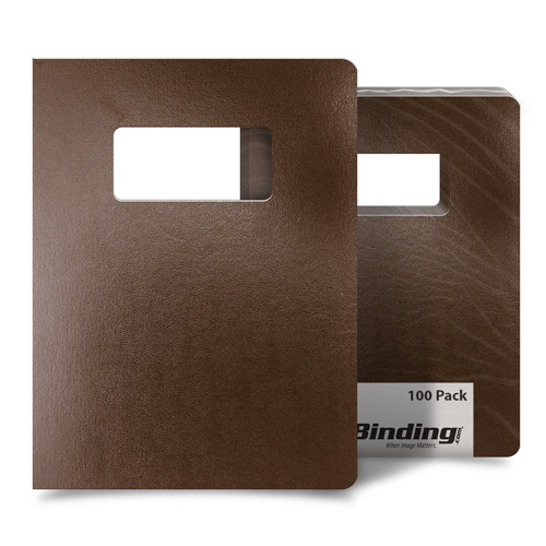 """Brown 8.75"""" x 11.25"""" Regency Leatherette Covers with Windows - 100 Sets (MYRC8.75X11.25BRW) Image 1"""