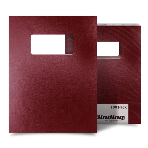 "Maroon 8.5"" x 11"" Regency Leatherette Covers with Windows - 100 Sets (MYRC8.5X11MRW) Image 1"
