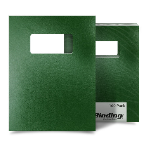 "Green 8.5"" x 11"" 15pt Vinyl Binding Covers with Windows - 100 Sets (MYVBC85X11DGNW) Image 1"