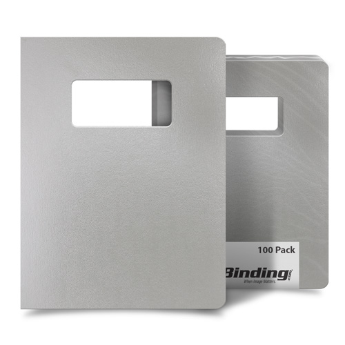 "Light Gray 8.75"" x 11.25"" Regency Leatherette Covers with Windows - 100 Sets (MYRC8.75X11.25LGW) Image 1"
