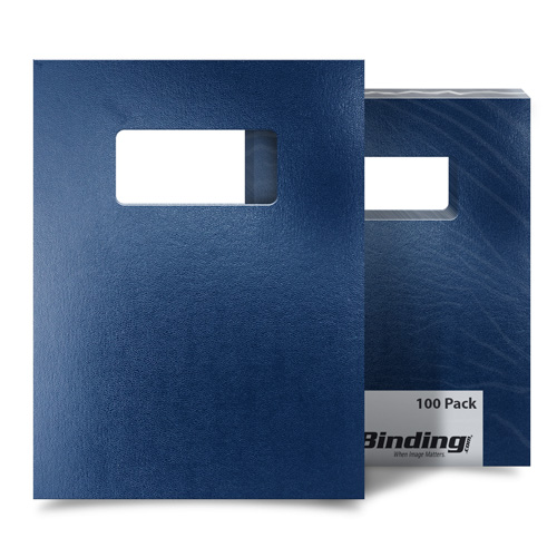 "Navy 8.5"" x 11"" Regency Leatherette Covers with Windows - 100 Sets (MYRC8.5X11NVW) Image 1"
