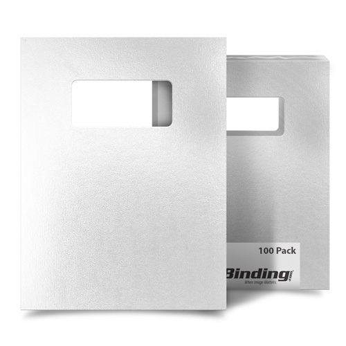 "White 8.5"" x 11"" Regency Leatherette Covers with Windows - 100 Sets (MYRC8.5X11WHW) Image 1"