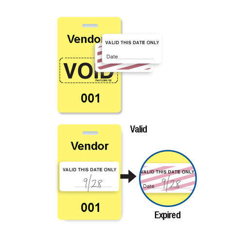 Reusable Yellow Plastic VOIDbadge - Vendor 001-100 - 100pk (T3006-06531), MyBinding brand Image 1