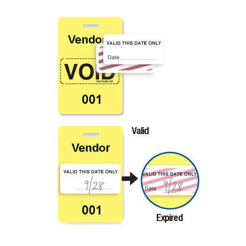Reusable Yellow Plastic VOIDbadge - Vendor 201-300 - 100pk (T3006-06533), MyBinding brand Image 1