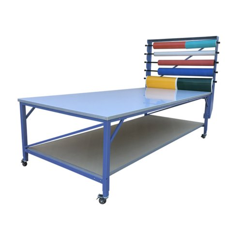 "SpeedPress 5' x 8' Rhino Work Table with 3/4"" MDF Top/Cutting Mat/Roll Holder/Shelf (SP-RT7776TP) Image 1"