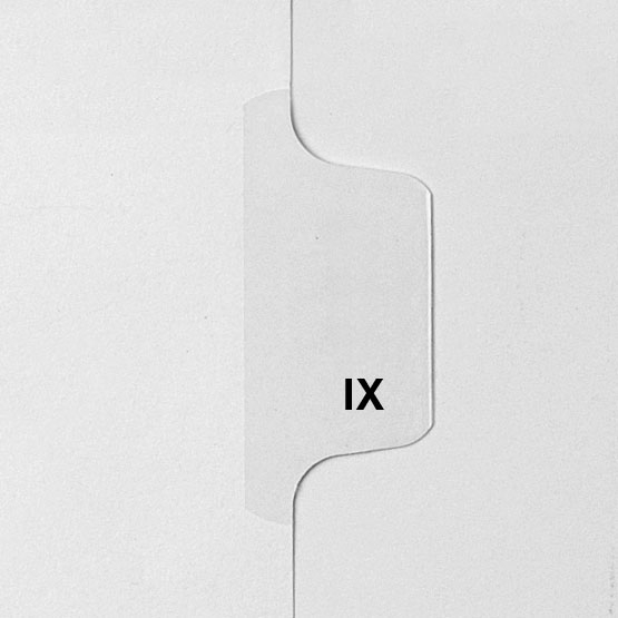 Roman Numeral IX - Avery Style Letter Size Side Tab Legal Indexes - 25pk (HCM58909) Image 1