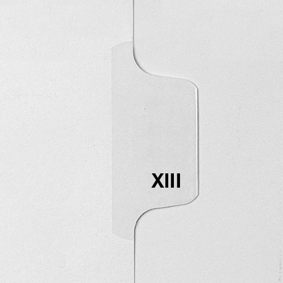 Roman Numeral XIII - Avery Style Letter Size Side Tab Legal Indexes - 25pk (HCM58913) Image 1