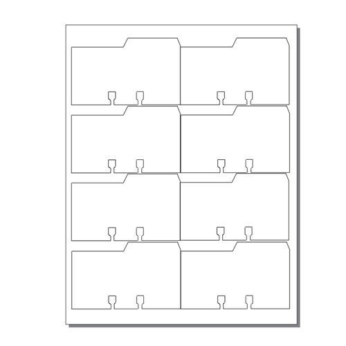 Zapco Rotary File Cards 8 Up With Right Tabs - 250 Sheets (ZAPFC126)