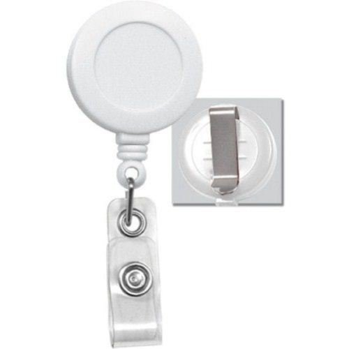 Round Badge Reel with Belt Clip White 25pk (2120-3038) Image 1