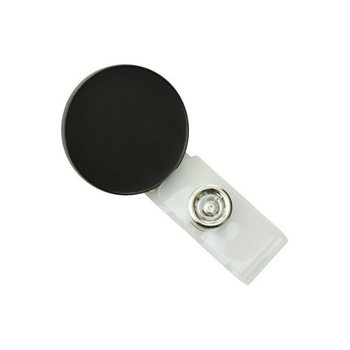 Round Black LogoClips with Swivel Clip and Clear Strap - 25pk (2105-4001)