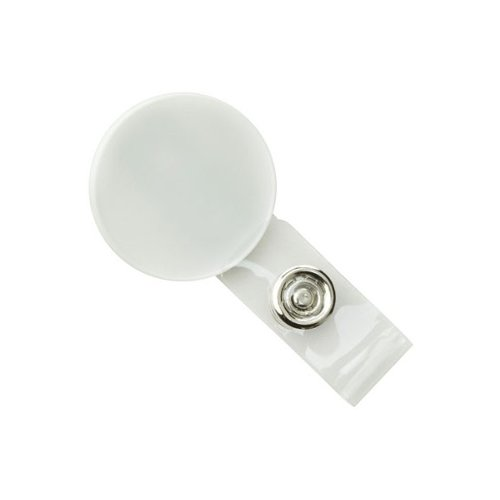 Round White LogoClips with Swivel Clip and Clear Strap - 25pk (2105-4008)