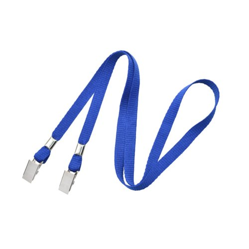 "Royal Blue 3/8"" Flat Open Ended Lanyard with Two Bulldog Clips - 100pk (2140-5302) Image 1"