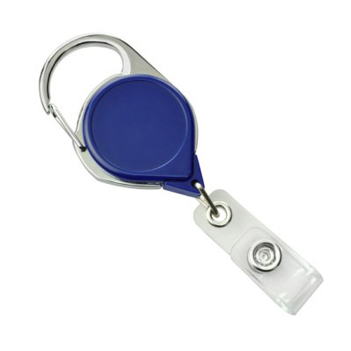Royal Blue Carabiner Badge Reel with Strap and NPS Belt Clip - 25pk (704-CLP-RBLU), Id Supplies Image 1