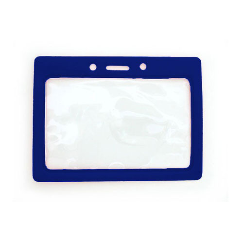 "Royal Blue Horizontal Vinyl Color-Frame Badge Holder (3-1/2"" x 2-1/8"") - 100pk (MYBP407TRBLU) Image 1"