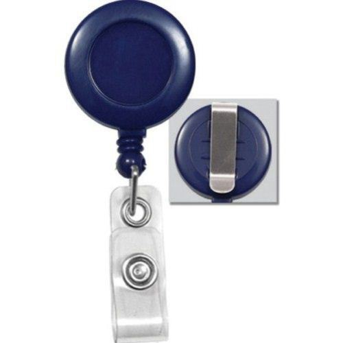 Royal Blue Round Badge Reel with Belt Clip - 25pk (2120-3032) Image 1