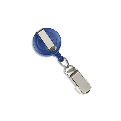 Royal Blue Round Badge Reel with Card Clamp and Slide Clip - 25pk (MYID525IK6RBLU) Image 1