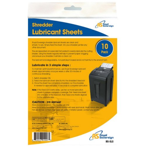 Royal Sovereign Shredder Lubricant Sheets - 10pk (RS-SLS) Image 1