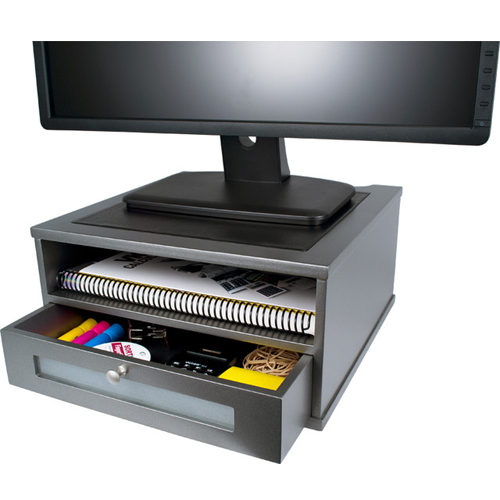 Victor Technology Monitor Riser with Shelf and Drawer (Classic Silver) (S1175) Image 1