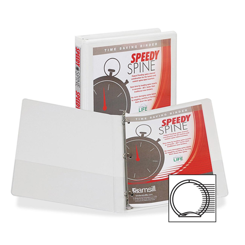 "Samsill 1/2"" White Speedy Spine Round Ring View Binder - 12pk (SAM-18117C)"