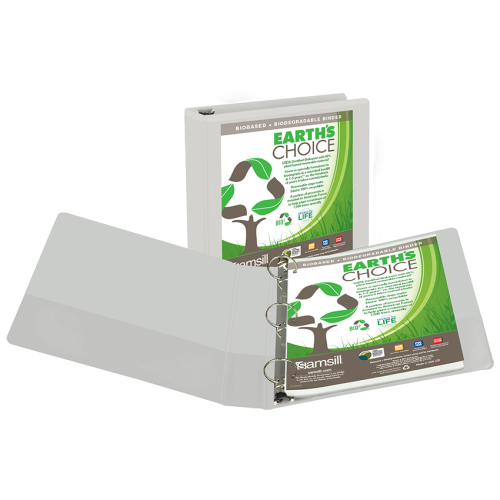 "Samsill 1.5"" White Earth's Choice Biodegradable Round Ring View Binder - 12pk (SAM-18957) Image 1"