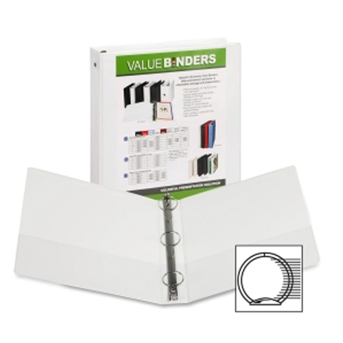"Samsill 1.5"" White Economy Insertable Round Ring View Binder - 12pk (SAM-18557) Image 1"