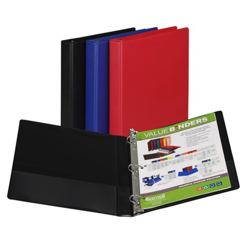"Samsill 1"" Assorted Value Plus Angle-D Ring Storage Binder - 12pk (SAM-16639) Image 1"