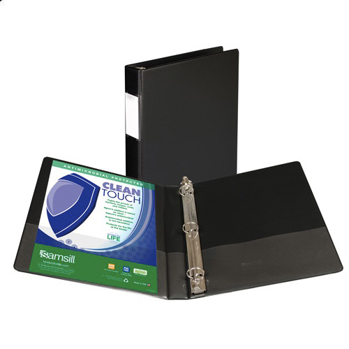 "Samsill 1"" Black Clean Touch Antimicrobial Round Ring Binder - 12pk (SAM-14330) Image 1"