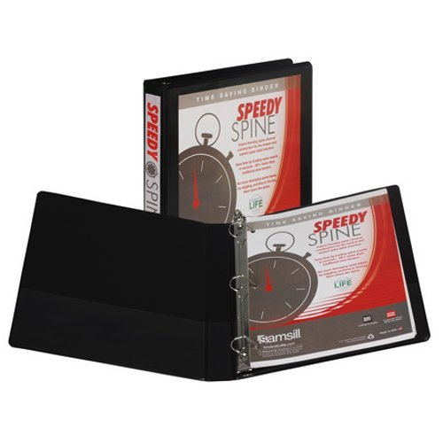 "Samsill 1"" Black Speedy Spine D-Ring View Binder - 12pk (SAM-19130C) Image 1"