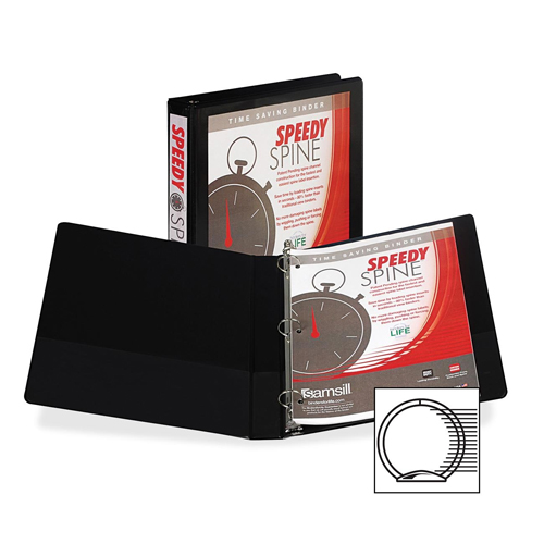 "Samsill 1"" Black Speedy Spine Round Ring View Binder - 12pk (SAM-18130C)"