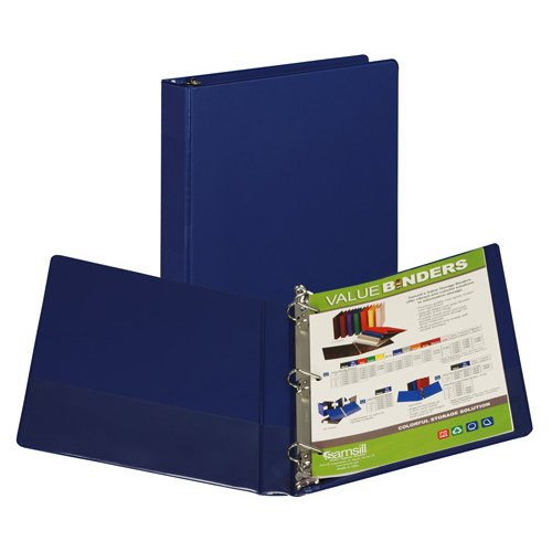 "Samsill 1"" Blue Value Plus Angle-D Ring Storage Binder - 12pk (SAM-16632) Image 1"