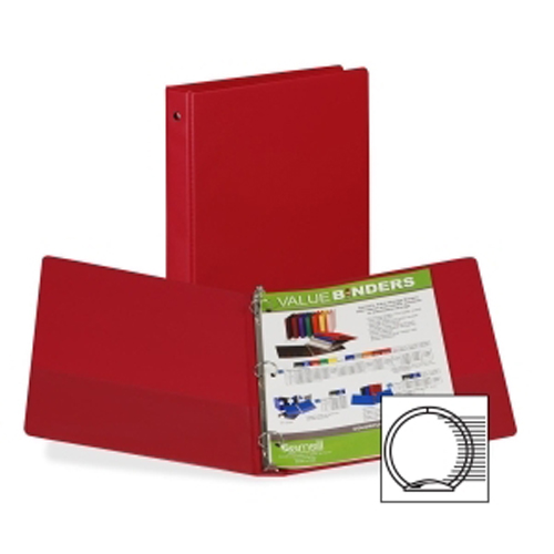 "Samsill 1"" Burgundy Value Round Ring Storage Binder - 24pk (SAM-11315) Image 1"