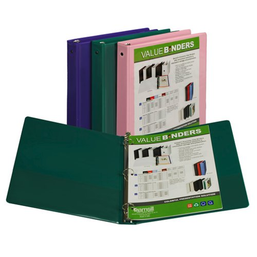 "Samsill 1"" Fashion Assorted II Economy Insertable Round Ring View Binder - 12pk (SAM-18398) Image 1"
