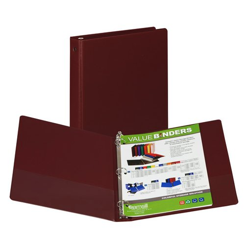 "Samsill 1"" Maroon Value Round Ring Storage Binder - 24pk (SAM-11316) Image 1"