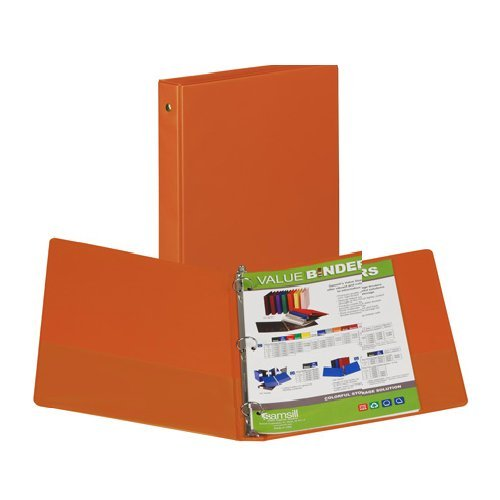 "Samsill 1"" Orange Value Round Ring Storage Binder - 24pk (SAM-11313) Image 1"