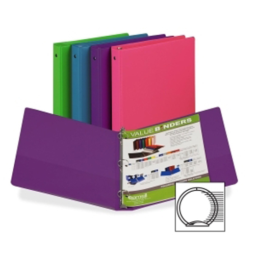 "Samsill 1"" Value Round Ring Assorted Fashion Storage Binder - 12pk (SAM-11399) Image 1"
