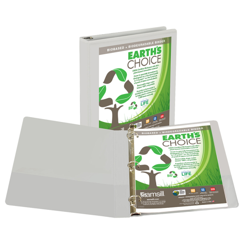 "Samsill 1"" White Earth's Choice Biodegradable Round Ring View Binder - 12pk (SAM-18937) Image 1"