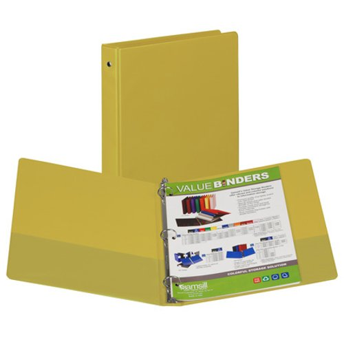 "Samsill 1"" Yellow Value Round Ring Storage Binder - 24pk (SAM-11306) Image 1"