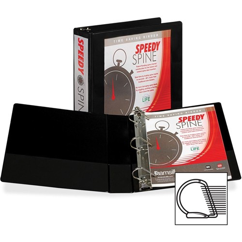 Samsill Black Speedy Spine D-Ring View Binder - 12pk (SAMSSDRINGBLK) Image 1