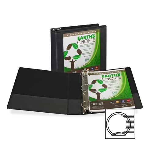"Samsill 2"" Black Earth's Choice Insertable Round Ring View Binder - 12pk (SAM-18960) Image 1"