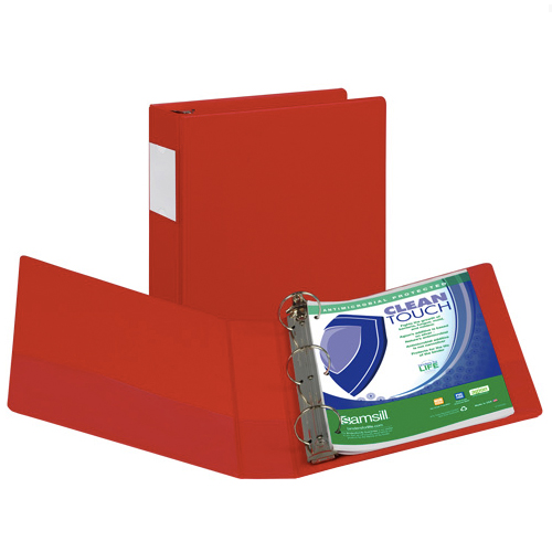 Red Antimicrobial Ring Binder Image 1