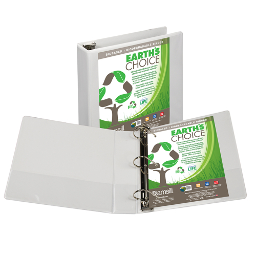 "Samsill 2"" White Earth's Choice Biodegradable Angle-D Ring View Binder - 12pk (SAM-16967) Image 1"