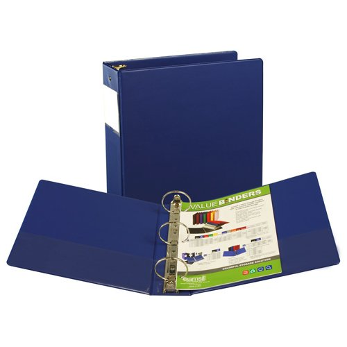 "Samsill 3"" Blue Value Plus Round Ring Binder w/ Label Holder - 12pk (SAM-16182) Image 1"